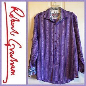 ⭐️ Robert Graham Purple Stripe Floral Cuff Shirt